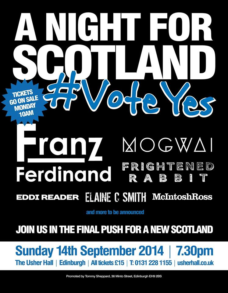 Franz Ferdinand, Mogwai and cream of Scottish music play 'Yes to independence' show on voting day Sept 14th