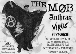 Flyer for The Mob Anthrax Virus Foxpunch Feb 2014