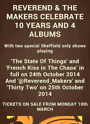 Reverend And The Makers announce 2 special Sheffield shows for October