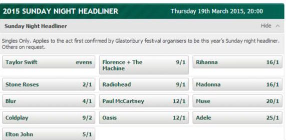 Glastonbury saturday headliner 2021 betting free betting site for real money