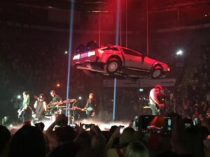 McBusted and DeLorean on stage