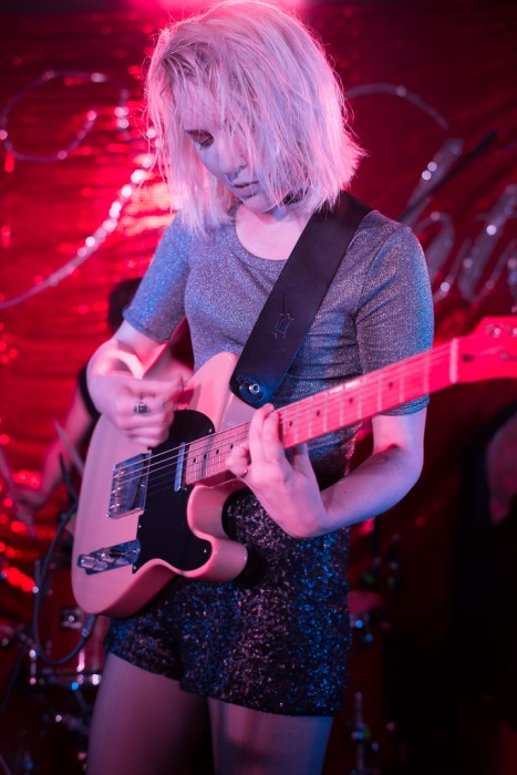 Faith Holgate of PINS opening their tour at the Portland Arms in Cambridge