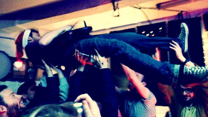 Crowd surfer at JT Soar