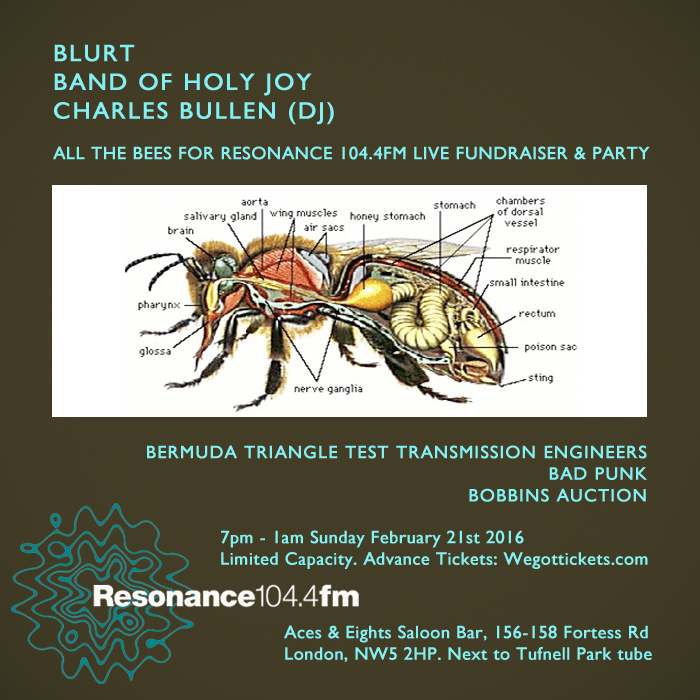 Blurt, Band Of Holy Joy to play Resonance Fundraiser