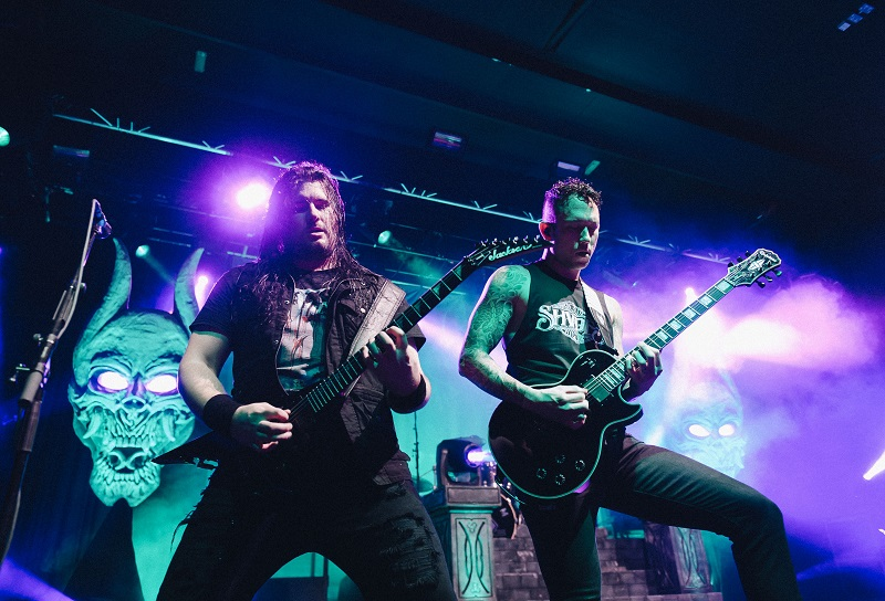 Photo: Andy Whitehead Photography Ltd Trivium - Manchester Academy 15/02/2017 Corey Beaulieu and Matt Heafy of Trivium onstage at the Manchester Academy, Oxford Road, Manchester, M13 9PR on Wednesday 15th February 2017. Photo by Andy Whitehead Photography Ltd, Wednesday 15th February 2017.