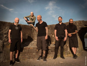 """Devin Townsend Project L-R Brian """"Beav"""" Waddell Devin Townsend Ryan Van Poederooyen Mike St-Jean Dave Young"""