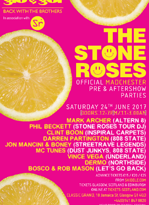 Official Gio-Goi Stone Roses pre/after show events, The Donnelly Brothers bring the party to Glasgow