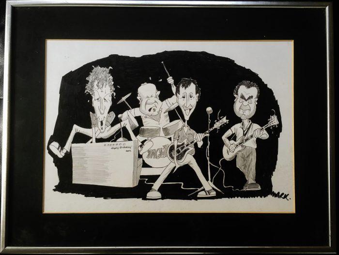 L-r, Priestman, Bellis, Watson, Dempsey (cartoon by Mark Herman)