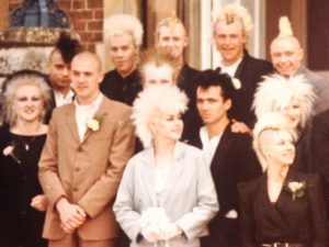 Pompey Punks Scrub-Up Well for Barry & Linda's Wedding 1984. (Brian 2nd from right, top row)