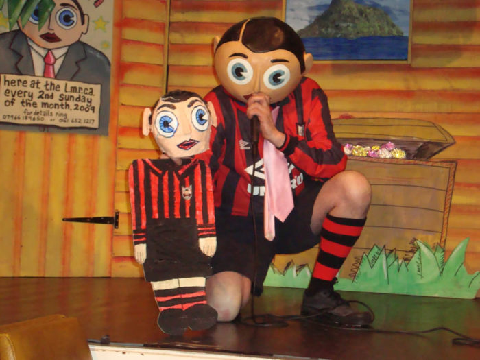 Being Frank The Chris Sievey Story still 3 - Frank Sidebottom and Little Frank - photo credit Dave Arnold