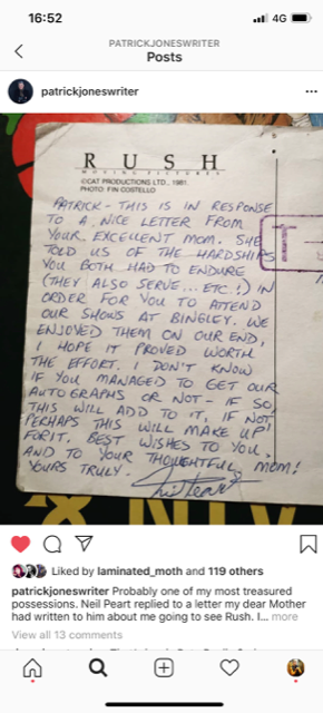Nicky Wire brother (Patrick Jones) shares touching letter he received from Neil Peart (Rush)
