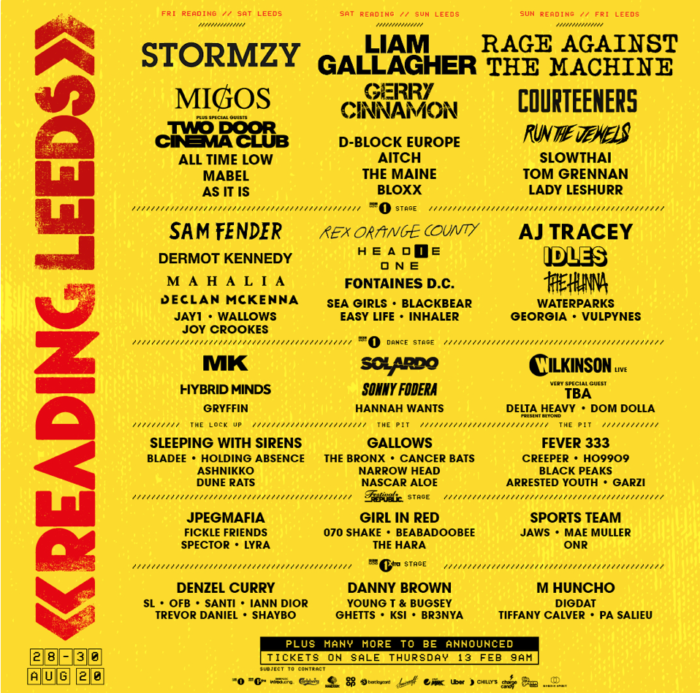Reading/Leeds announce Stormzy, Liam G and Rage Against The Machine headlines : full bill here