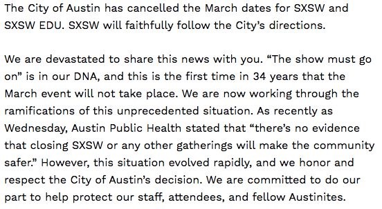 SXSW is cancelled because of Corona virus