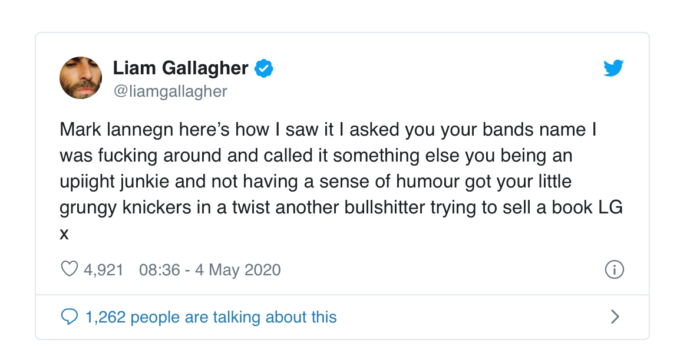 Liam Gallagher tweets rebuttal of Mark Lanegan new book story about their stand off