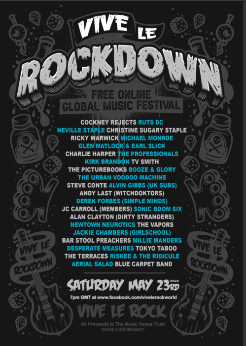 online punk festival this Saturday! VIVE LE ROCKDOWN announcers line up