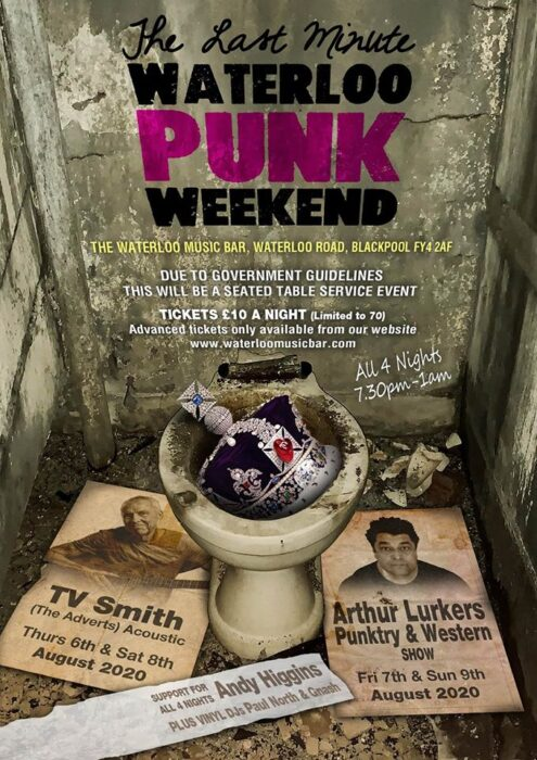 Blackpool Waterloo venue announce gigs and punk weekend. Please support !