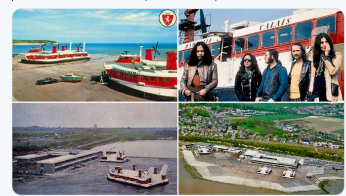 excellent rock trivia! old postcard of krautrock legends Can boarding the Ramsgate hovercraft