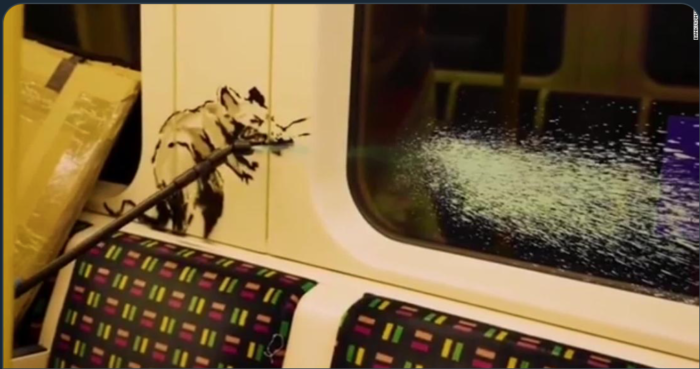 Banksy new art piece removed from tube train by the fat controller!