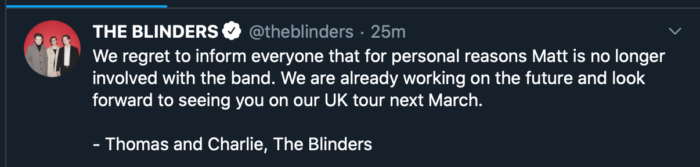 The Blinders announce their drummer leaving