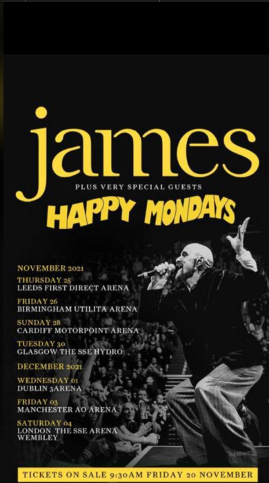 something to look forward to…' James and Happy Mondays announce 2021 stadium tour