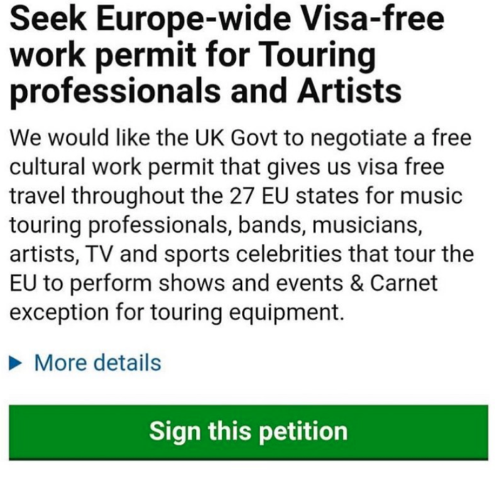Petition for European free cultural work permit reaches 200 000 as UK government blames the EU