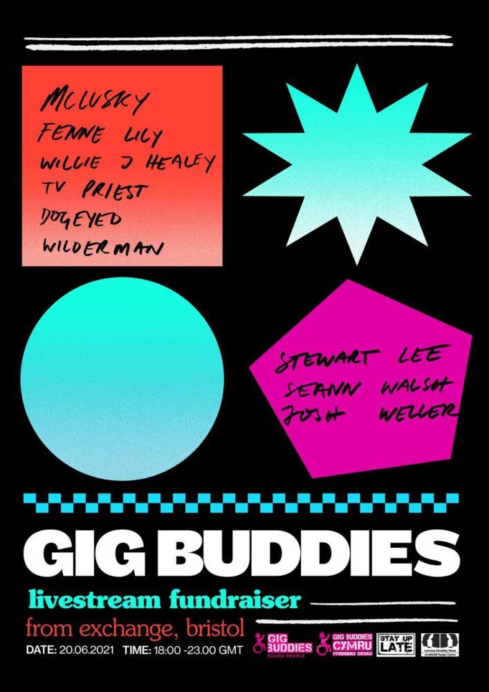 Stewart Lee, mclusky, Willie J Healey, TV Priest play online fundraiser for Gig Buddies