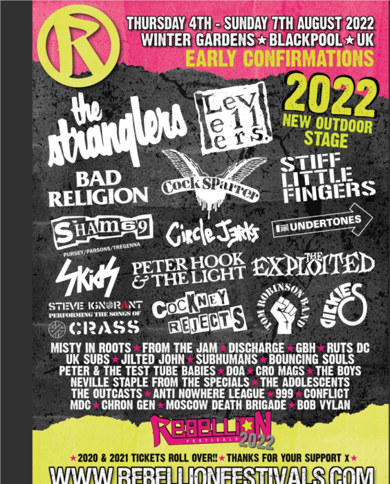 Rebellion punk festival announce first raft of bands for 2022