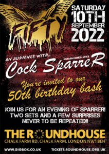 cock sparrer 50th anniversary