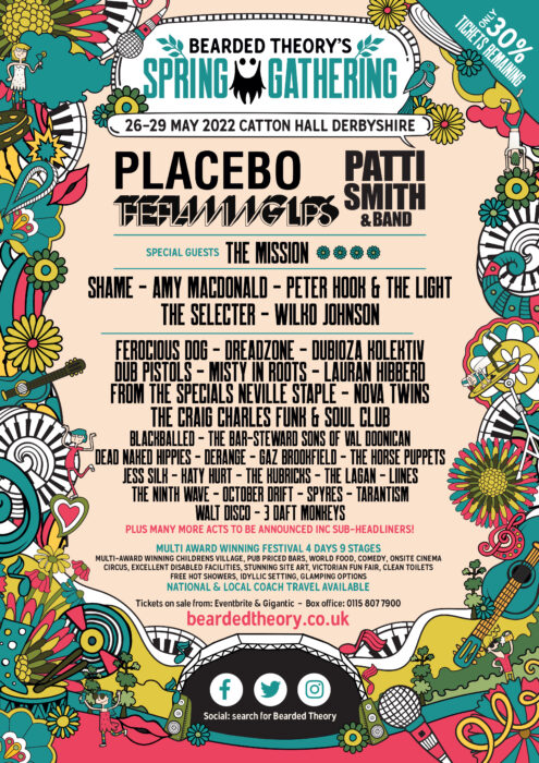 Bearded Theory announce 2022 line up inc Placebo, Patti Smith and The Flaming Lips