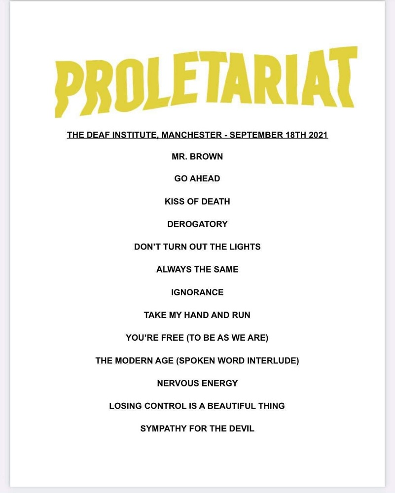 Proletariat Set List - The Deaf Institute - Manchester - Trust A Fox©