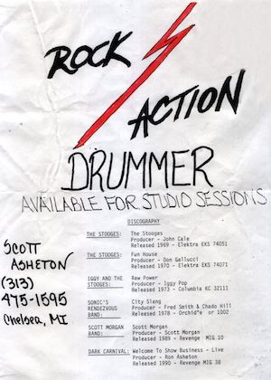 Working With Scott Asheton – Sonny Vincent Remembers And Posts Flyer From The Great Drummer