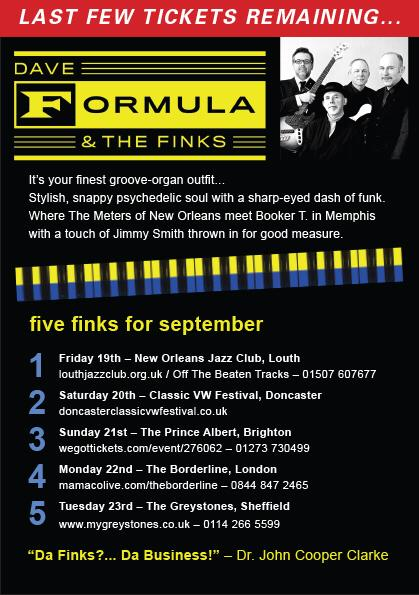 """Dave Formula & The Finks –  """"a new take on the funk"""" On Tour Sept 2014"""
