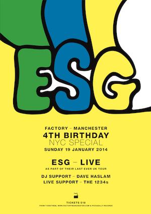 ESG Announce Rare UK Dates, inc FAC251, Manchester