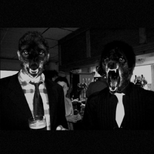 Biscuit Mouth in animal masks, black and white press shot
