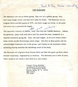 read this.. a copy of The Ramones first biog typed by Tommy sent out in 1975