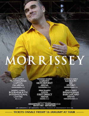 Morrissey Announces 6-Date UK Arena Tour – Tickets On Sale Soon