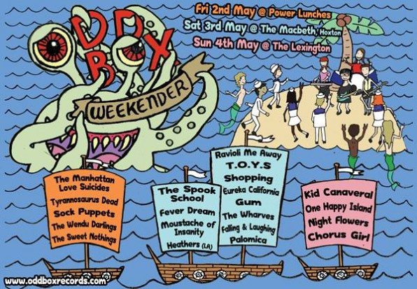 Odd Box Weekender in London this weekend featuring Kid Canaveral, The Wharves and Moustache Of Insanity!