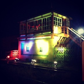 Indietracks signal box lit up at night
